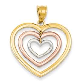 14k gold tricolor dangling heart pendant weighs 25g measures 1 18w x 1 516h