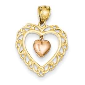 14k gold two tone rose filigree heart pendant dangling weighs 14g measures 34w x 1h