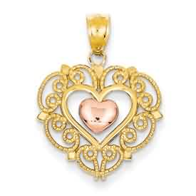 14k gold two tone rose filigree heart pendant weighs 16g measures 34w x 1h