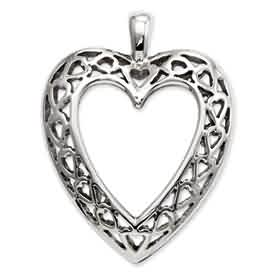 14k white gold heart pendant weighs 11g measures 916w x 34h