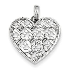 14k gold diamond cut heart pendant weighs 129g measures 1316w x 78h