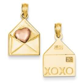 14k gold love pendants love letter with rose gold heart weighs 15g measures 12w x 1316