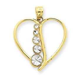 14k gold two tone diamond cut cascading circles heart pendant weighs 98g measures 1316w