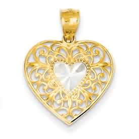 14k gold heart pendant weighs 10g measures 34w x 1516h