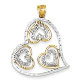 14k gold heart pendant weighs 31g measures 1 516w x 1 916h