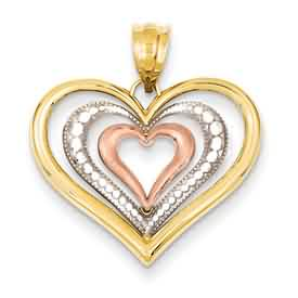 14k gold heart pendant weighs 8g measures 1516w x 1516h