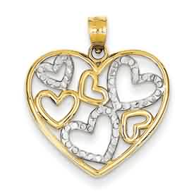 14k gold diamond cut heart pendant with rhodium weighs 131g measures 1316w x 1516h