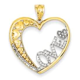14k gold love pendants LOVE in large heart with rhodium accents and small hearts weighs 1