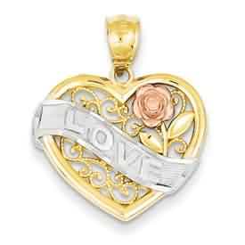 14k gold heart pendants LOVE on rhodium banner with rose gold rose and filagree detail in