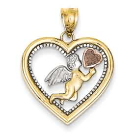 14k gold cupid pendants rhodium cupid with rose gold heart in large yellow gold heart wei