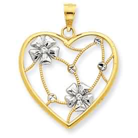 14k gold and rhodium flowers in heart pendant weighs 14g measures 78w x 1 116h