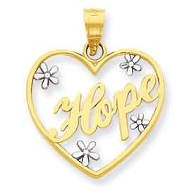 14k gold and rhodium diamond cut Hope heart pendant weighs 11g measures 34w x 75h