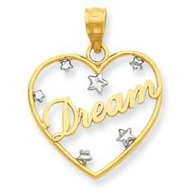 14k gold and rhodium Dream in heart with floating star heart pendant weighs 7g measures