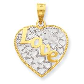 14k gold diamond cut Love heart pendant weighs 8g measures 1116w x 78h