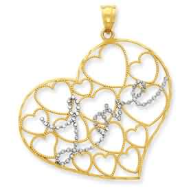 14k gold and rhodium diamond cut Love heart pendant weighs 31g measures 1 716w x 1 58h