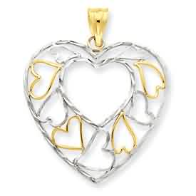 14k gold and rhodium diamond cut heart pendant weighs 17g measures 1 116w x 1 14h