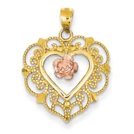 14k gold two tone rose filigree heart pendant with flower weighs 15g measures 34w x 1h