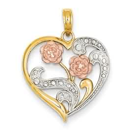 14k gold heart pendant weighs 18g measures 1316w x 1 116h