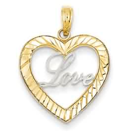 14k gold love inside heart pendant weighs 117g measures 34w x 1516h