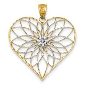 14k gold heart pendant weighs 35g measures 1 38w x 1 58h