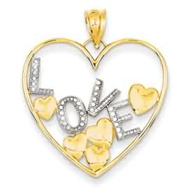 14k gold polished heart pendant with rhodium Love weighs 17g measures 1w x 1 316h
