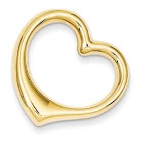 14k gold polished cut out heart slide pendant hollow weighs 12g measures 1516w x 1516