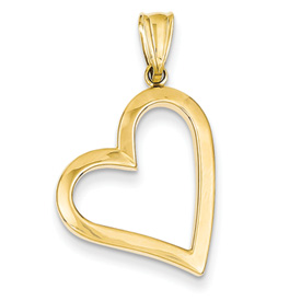 14k gold polished hollow heart pendant weighs 98g measures 3w x 1 18h