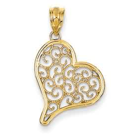 14k gold filagree heart pendant weighs 104g measures 1116w x 1 18h