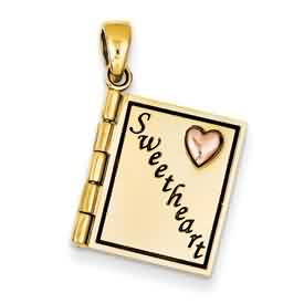 14k gold sweetart book pendant opens two tone with rose gold weighs 2g measures 916w x