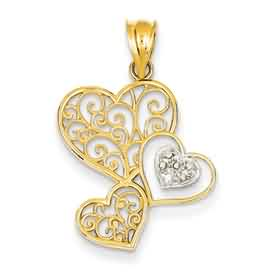 14k gold heart pendant with cut out scroll and rhodium weighs 13g measures 34w x 1 116