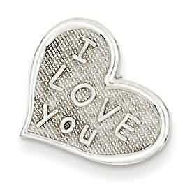 14k white gold I love you heart hidden bail chain slide weighs 9g measures 58w x 58h