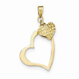 14k gold 14K open heart puffed heart pendant weighs 76g measures 34w x 1 516h