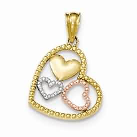 14k gold two tone polished and textured heart pendant with rose gold and rhodium weighs