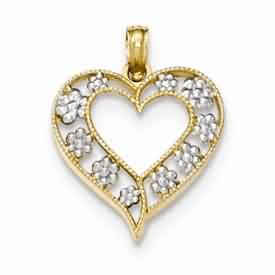 14k gold textured heart with  rhodium flowers pendant weighs 124g measures 1116w x 78h