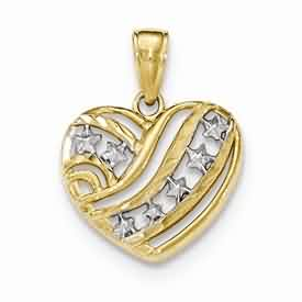 14k gold flag heart pendant has diamond duct hearts stars and stripes weighs 125g meas