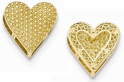 14k gold reversible cut out heart chain slide weighs 21g measures 34w x 34h