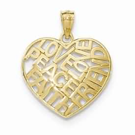 14k gold PEACE LOVE FRIEND FAITH heart pendant weighs 11g measures 1316w x 1h