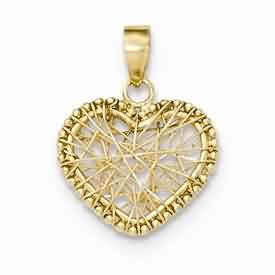 14k gold open wire heart pendant weighs 81g measures 58w x 1316h