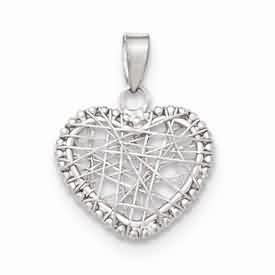 14k white gold open wire heart  pendant weighs 8g measures 58w x 1316w x h