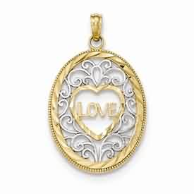 14k gold Love pendant with rhodium weighs 13g measures 34w x 1 316h