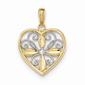 14k gold polished heart with flower pendant weighs 117g measures 1316w x 1h