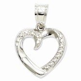 14k white gold swirled heart pendant weighs 8g measures 916w x 78h