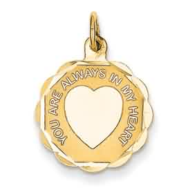 14k gold heart on disc pendant You are always in my heart weighs 59g measures 58w x 13