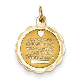 14k gold love pendant I love you more than yesterday less than tomorrow weighs 57g measu