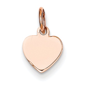 14k rose gold heart pendant flat for engraving weighs 31g measures 516w x 12h