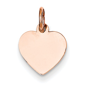 14k rose gold heart pendant flat for engraving weighs 4g measures 716w x 916h