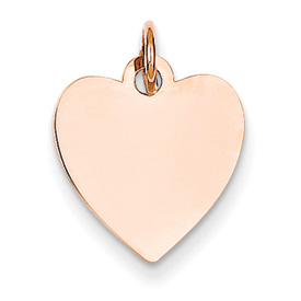 14k rose gold heart pendant flat for engraving weighs 61g measures 916w x 1116h