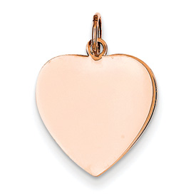 14k rose gold heart pendant flat for engraving weighs 82g measures 58w x 1316h