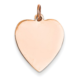 14k rose gold heart pendant flat for engraving weighs 106g measures 1116w x 1516h