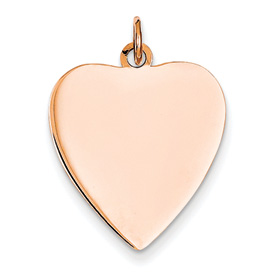 14k rose gold heart pendant flat for engraving weighs 121g measures 34w x 1h